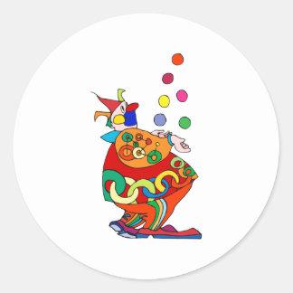 Bolas que hacen juegos malabares del payaso pegatina redonda