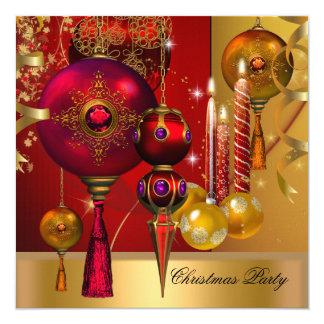 """Bolas rojas de Navidad del oro de la celebración Invitación 5.25"""" X 5.25"""""""
