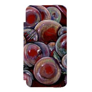 Bolas rojas del navidad funda billetera para iPhone 5 watson