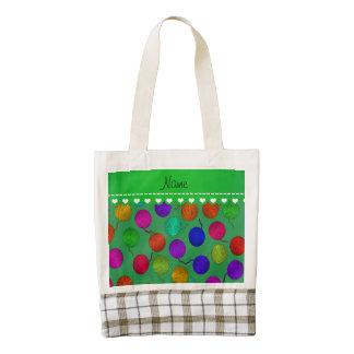 Bolas verdes conocidas personalizadas del hilado bolsa tote zazzle HEART