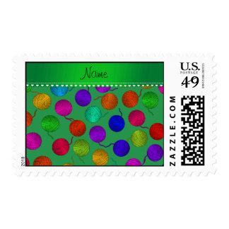 Bolas verdes conocidas personalizadas del hilado timbre postal