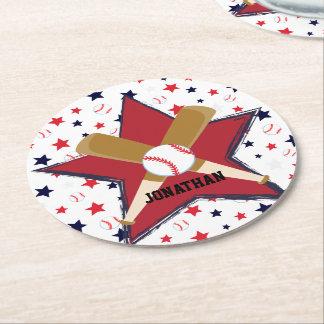 Bolas y estrellas de encargo de bates de béisbol posavasos de cartón redondo