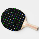 Bolas y estrellas negras de fútbol pala de ping pong