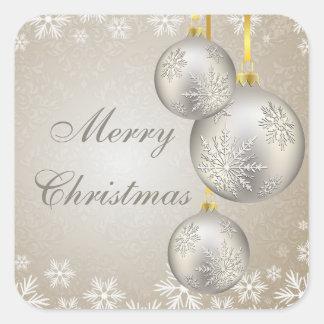 Bolas y nieve del navidad del oro del platino pegatina cuadrada