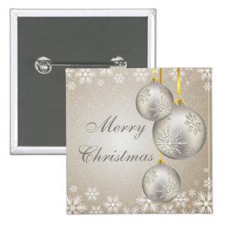 Bolas y nieve del navidad del oro del platino pin cuadrado