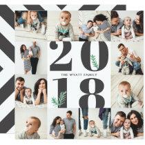 Bold 2018 New Year Seamless 12 Photo Card