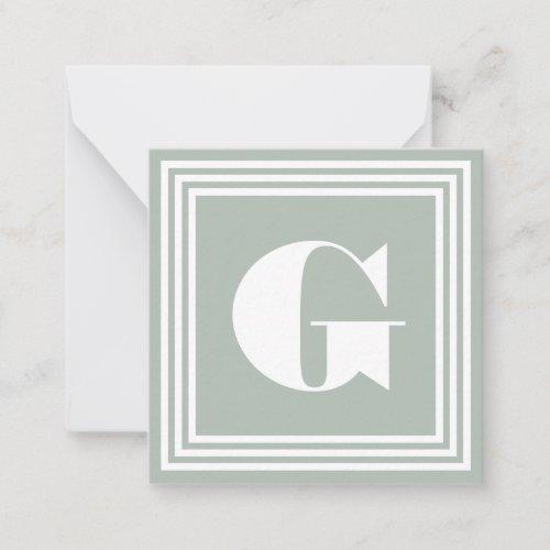 Bold 3 Frame Monogram  Ash Grey  White Note Card