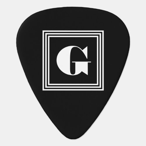 Bold 3 Frame Monogram  Black  White Guitar Pick