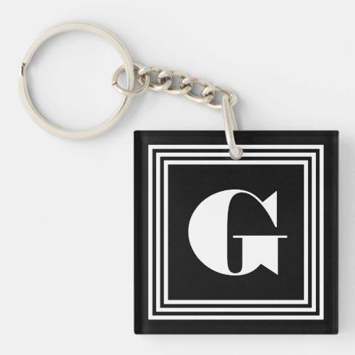 Bold 3 Frame Monogram  Black  White Keychain
