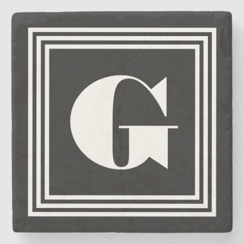 Bold 3 Frame Monogram  Black  White Stone Coaster