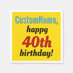[ Thumbnail: Bold 40th Birthday Paper Napkins ]