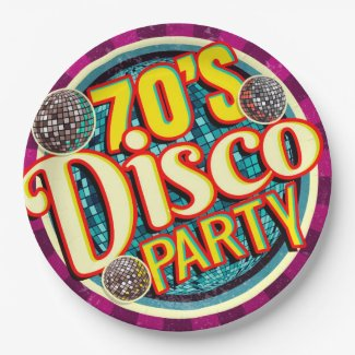 Bold 70's Disco Party| Colorful Nostalgic Paper Plate