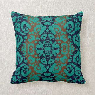 Bold Abstract Damask Ombre Deep Blue Teal Orange Throw Pillow