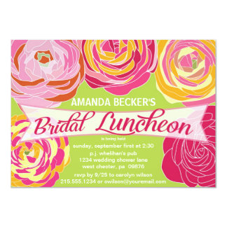 "Bold Abstract Floral Bridal Luncheon Invitation 4.5"" X 6.25"" Invitation Card"