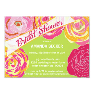 Bold Abstract Floral Bridal Shower Invitation