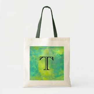 Bold Abstract In Green and Yellow Monogram Initial Tote Bag