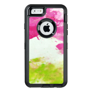 Bold abstract Pink and Green Paint OtterBox Defender iPhone Case