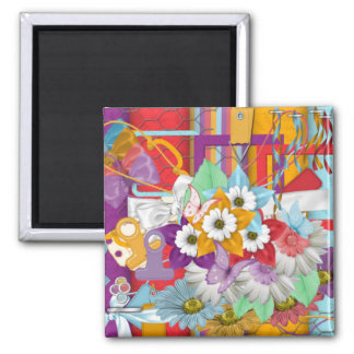 Bold and Beautiful Floral Scrappy Design Magnet