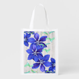 Bold and Beautiful Purple Clematis Flowers Grocery Bag