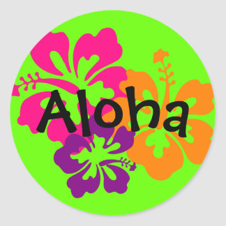 Bold and Bright Hawaiian Flowers Classic Round Sticker