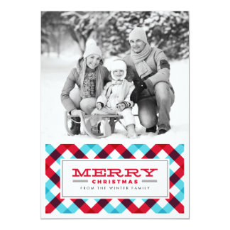 Bold and Bright Plaid Merry Christmas Photo Card