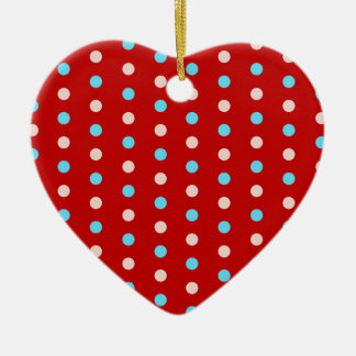 Bold and Bright Red and Blue Polka Dots Gifts Ceramic Ornament