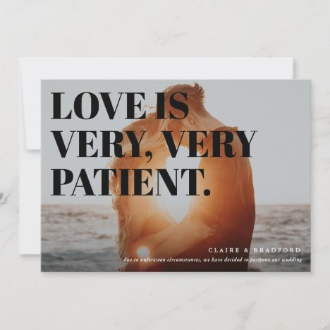 Bold and Cheeky Typographic Postponed Wedding Announcement