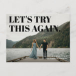 Bold and Cheeky Typographic Save a New Date Announcement Postcard