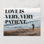 """Bold and Cheeky Typographic Wedding Postponed Announcement Postcard<br><div class=""""desc"""">The perfect postcard for the thrifty couple with an engagement photograph featuring a sweeping view that shows off the landscape of your area and is zoomed away from the couple, this card features an overlay of cheeky postponement or date change announcement text with a strong typographic aesthetic. The back of...</div>"""