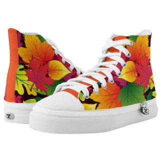 Bold and Colorful Autum Leaves High-Top Sneakers