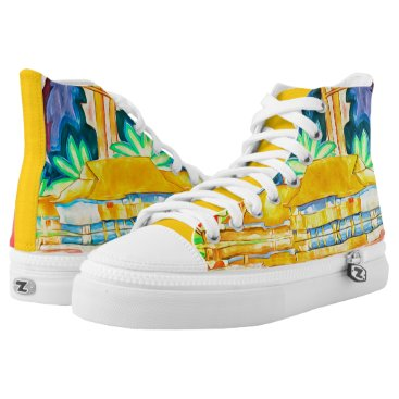 Hawaiian Themed Bold and Colorful Island Abstract Painting High-Top Sneakers