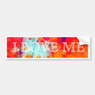 Bold and Cool Orange Teal Dreamy Floral Abstract Bumper Sticker