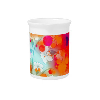 Bold and Cool Orange Teal Dreamy Floral Abstract Drink Pitchers