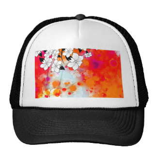 Bold and Cool Red Dreamy Floral Abstract Trucker Hat
