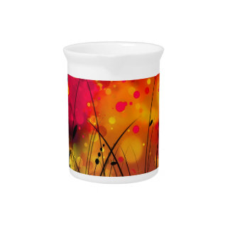 Bold and Cool Red Green Dreamy Abstract Pitcher