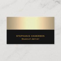 Bold and Elegant Black Gold Striped Makeup Artist Business Card