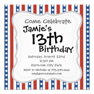Bold and Fun 4th of July Stars and Stripes Pattern Personalized Announcements