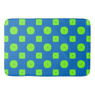 Bold and Lively Checkered Bathmat in Blue & Green
