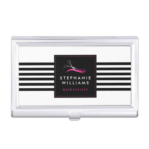 Bold and modern hair stylist business card holder zazzle for Hairdresser business card holder