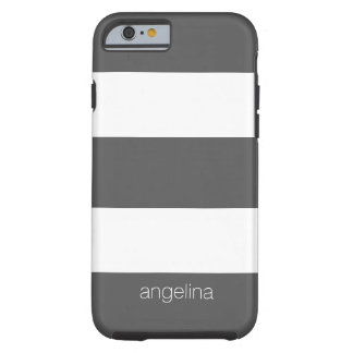 Bold and Modern White Striped Pattern Custom Name Tough iPhone 6 Case