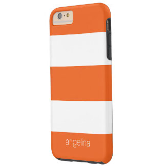 Bold and Modern White Striped Pattern Custom Name Tough iPhone 6 Plus Case