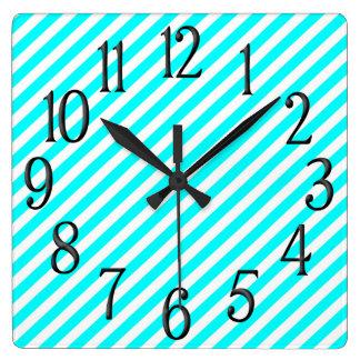 Bold Aqua and White Diagonal Striped Square Wall Clock