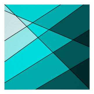 Bold aqua, blue, and teal artistic poster