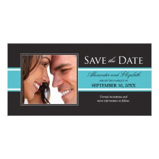 Bold Aqua Stripe Save the Date Announcement Photo Card