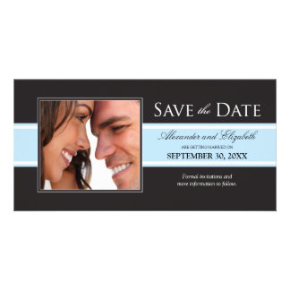 Bold Baby Blue Stripe Save the Date Announcement
