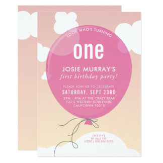 BOLD BALLOON birthday party invite sunset sky pink