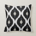 Bold beige black and white tribal ikat pillow