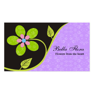 Bold big turquoise flower business cards template