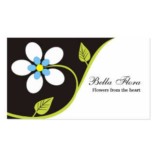Bold big white flower business cards template