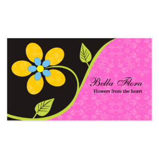 Bold big yellow flower business cards template